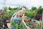 Mature couple choosing plants in a plant nursery, Augsburg, Bavaria, Germany