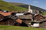 Church in a village, Vrin, Switzerland