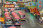 Waiting buses in Kowloon, Hong Kong, China, Asia
