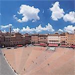 Piazza del Campo, Santa Maria Assunta Cathedral behind, Siena, UNESCO World Heritage Site, Siena Province, Tuscany, Italy, Europe