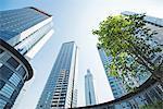 Low wide angle view of a group of new skyscrapers combined with fresh greenery in Jianggan, Hangzhou, Zhejiang, China, Asia
