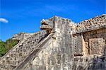 Stairway with serpent heads, Platform of Venus, Chichen Itza, UNESCO World Heritage Site, Yucatan, Mexico, North America