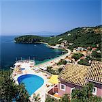 View over bay, Kalami, north east coast, Corfu, Ionian Islands, Greek Islands, Greece, Europe