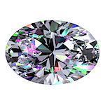 Diamond Oval. 3D Model Over White Background.