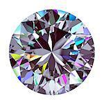 Diamond Round. 3D Model Over White Background.