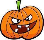 Cartoon Illustration of Jack Lantern Halloween Pumpkin