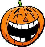 Cartoon Illustration of Laughing Jack Lantern Halloween Pumpkin