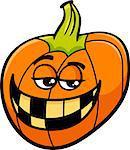 Cartoon Illustration of Funny Halloween Pumpkin or Jack Lantern