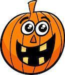 Cartoon Illustration of Halloween Pumpkin or Jack Lantern