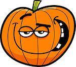 Cartoon Illustration of Halloween Pumpkin or Funny Jack Lantern