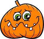 Cartoon Illustration of Halloween Jack Lantern Pumpkin