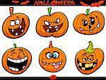 Cartoon Illustration of Halloween Pumpkins or Jack Lanterns Holiday Set