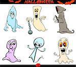 Cartoon Illustration of Ghosts or Phantoms Halloween Characters Set