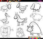 Coloring Book Cartoon Illustration of Farm Animals Characters Set