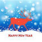 Beautiful vector illustration Happy New Year deer walking through the snow