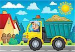 Sand truck theme image 3 - eps10 vector illustration.