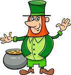 Cartoon Illustration of Leprechaun on Saint Patrick Day with Pot of Golden Coins