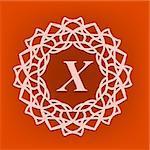 Simple  Monogram X Design Template on Orange Background