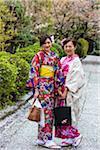 Two Women Dressed in Traditional Kimonos, Higashiyama, Kyoto, Japan