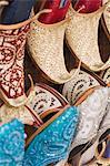 Curly toed slippers for sale in Bur Dubai Souk, Dubai, United Arab Emirates, Middle East