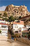 Santa Cruz quarter and Santa Barbara castle in background, Alicante, Valencia province, Spain, Europe