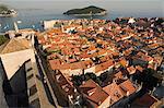 Old Town houses, city walls, Lokrum Island, Dubrovnik, UNESCO World Heritage, Dalmatia, Croatia, Adriatic, Europe
