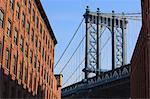 Manhattan Bridge from DUMBO, Brooklyn, New York City, New York, United States of America, North America