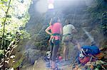 Friends rock climbing, French's Dome, Zig Zag, Oregon, USA