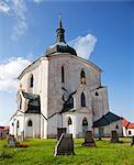 Czech Republic, Zdar nad Sazavou, Zelena Hora.Facade of the Pilgrimage Church of St John of Nepomuk at Zelena Hora. UNESCO.