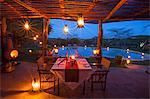 Kenya, Lewa Conservancy, Lewa Safari Camp. A romantic dinner set for two.