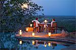 Kenya, Meru National Park, Elsa's Kopje. Romantic dinner for two under a full moon.