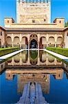 Courtyard of the Myrtles (Patio de los Arrayanes) in La Alhambra, Granada, Andalusia, Spain.