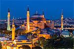 Night top view over Hagia Sophia, Sultanahmet, Istanbul, Turkey