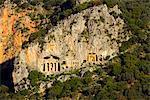 Turkey, Mediterranean, Mugla Province, Dalyan, Kaunos, Lycian rock tombs