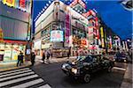 Illuminated Shopping Street at Dusk, Shimbashi, Minato, Tokyo, Japan