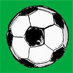 Illustration of soccer ball against green background