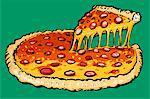 Illustration of fresh pizza against green background