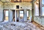 Interior of a derelict schoolhouse