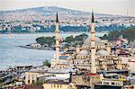 New Mosque (Yeni Cami) with Bosphorus Strait behind, Istanbul, Turkey, Europe