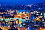City view, Bridge of Peace and Public Service Hall House of Justice on Mtkvari River, Tbilisi, Georgia, Caucasus, Central Asia, Asia