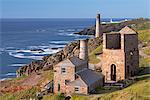 Levant tin mine and Pendeen Lighthouse, Trewellard, Cornwall, England, United Kingdom, Europe