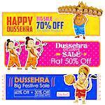 illustration of Happy Dussehra banner with Rama, Laxmana, Hanuman and Ravana