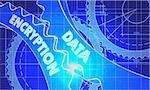Data Encryption Concept. Blueprint Background with Gears. Industrial Design. 3d illustration, Lens Flare.