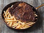 close up of rustic steak frites
