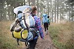 Hikers walking across forest, Lake Blanco, Washington, USA