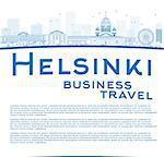 Outline Helsinki skyline and copy space. Business travel concept. Vector Illustration