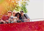 Friends taking selfie on double-decker bus