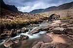 Stream flowing under remote aqueduct, Scotland