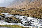 Winding river through highlands landscape, Glen Etive, Argyll, Scotland