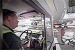 Tug driver towing A380 aircraft